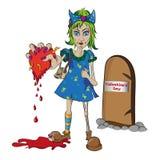 Zombiemeisje met een hart Stock Afbeelding