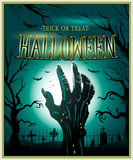 Zombiemonsterhandgrün Halloween-Hintergrund Stockbilder