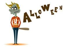 Zombien med ett slagträ på ett Halloween tema Royaltyfria Bilder