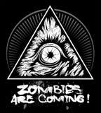 Zombieoog met de driehoek, vectorembleem royalty-vrije illustratie