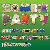 Zombiepartyschrifttyp Lizenzfreie Stockfotografie