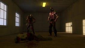 Zombies και παλαιό δωμάτιο Στοκ Εικόνες
