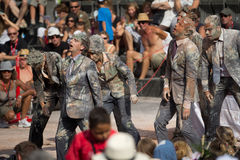 Zombies. AURILLAC, FRANCE - AUGUST 22: a group of zombies as part of the Aurillac International Street Theater Festival,show by the Company n°8 ,on august 22 Royalty Free Stock Images