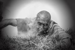 Scary zombie man. Zombies can climb out of the grave Stock Photos