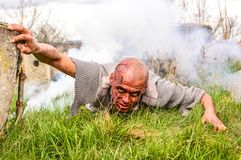 Scary zombie man. Zombies can climb out of the grave Royalty Free Stock Images