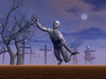 Zombies in cemetery - 3D render Royalty Free Stock Photo