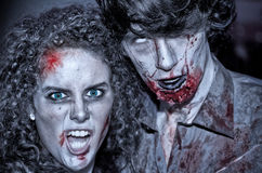 Zombies couple. LIMERICK, IRELAND - OCTOBER 1:  Unidentified people in zombie costumes on the street Stock Image