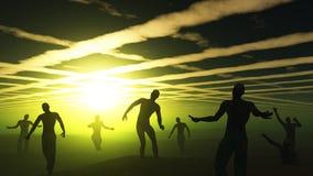 Zombies 3D in der grünen gespenstischen Landschaft Stockfoto