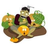Zombies eat pumpkin. Halloween stock illustration