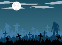 Zombies in the Graveyard with Full Moon Flat Design Stock Image
