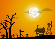 Zombies graveyard and house halloween background Stock Photo