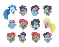 Zombies Heads Flat Vector Illustration Collection Stock Photos