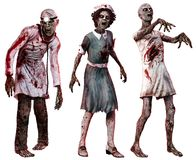 Zombies in hospital clothes. 3D illustration Stock Photography