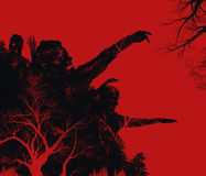 Zombies illustration. Fantasy dead zombies attack on red background illustration art Stock Photo