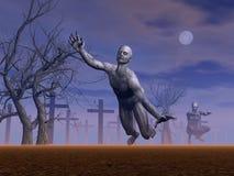 Zombies im Kirchhof - 3D übertragen Lizenzfreies Stockfoto