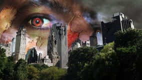 Zombies invasion. View of Manhattan from Central Park. The edifices have been destructed and zombies are invading the city Stock Photo