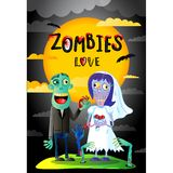 Zombies love poster with married zombie couple. Zombies love poster with funny married zombie couple in cartoon style. Halloween zombie horror fantasy banner Royalty Free Stock Photos