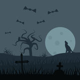 Zombies night vector background Stock Photo