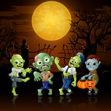 Zombies party cartoon Halloween costumes in graveyard Stock Image