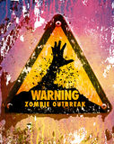 Zombies sign 2. Grungie zombie outbreak warning sign vector illustration
