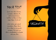Zombies and sign with halloween background Stock Photos