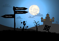 Zombies and sign with halloween background Stock Images