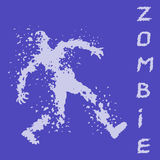 Zombies silhouette in leaky clothes. Vector illustration. The horror genre. Purple color background Stock Photo