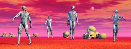 Zombies among skulls - 3D render Royalty Free Stock Images