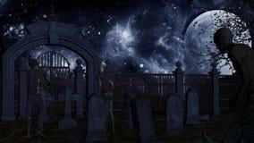 Walking dead in spooky cemetery Stock Photography