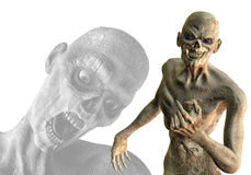 Zombies unholy alliance. 3D rendering and assembly of undead zombies Stock Photo