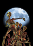 Zombies walking. Zombie like creatures walking with a bright blue moon behind them Stock Image