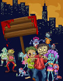 Zombies walking in the city Royalty Free Stock Image