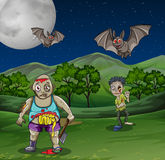 Zombies walking in the field at night. Illustration Stock Photography