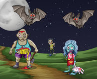 Zombies walking on the ground at night Royalty Free Stock Photography