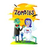 Zombies wedding poster with married zombie couple. Zombies wedding poster with funny married zombie couple in cartoon style. Halloween zombie horror fantasy royalty free illustration