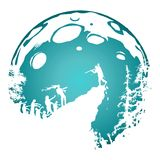 Zombieschattenbildlandschaft, schattierter blauer Vollmondhintergrund stockfoto