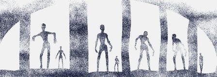Zombiesilhouetten in donker bos royalty-vrije illustratie