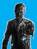 Zombiezakenman die op blauwe achtergrond trekken Griezelige illustrati vector illustratie