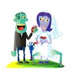 Zombis épousant avec les couples mariés de zombi Images libres de droits