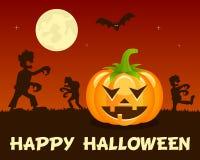 Zombis de Halloween avec le potiron sur l'orange Image stock