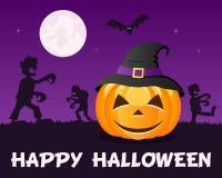 Zombis de Halloween avec le potiron sur la violette Images stock
