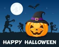 Zombis de Halloween avec le potiron sur le bleu Photographie stock libre de droits