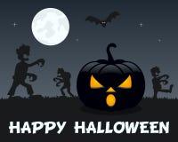 Zombis de Halloween avec le potiron sur le noir Photographie stock