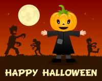 Zombis de Halloween marchant avec l'épouvantail Photographie stock libre de droits