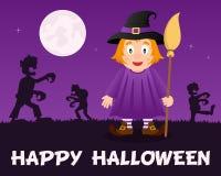 Zombis de Halloween marchant avec la sorcière mignonne Photographie stock