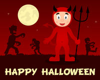 Zombis de Halloween marchant avec le diable rouge Photo stock