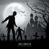Zombis heureux de Halloween sur le fond de lune et de château Photos libres de droits