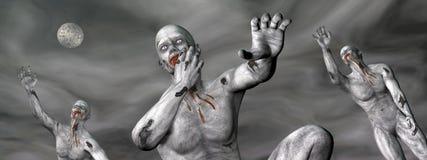 Zombis por noche - 3D rinden Imagen de archivo libre de regalías