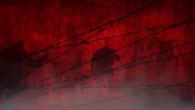 Zombis rojos detrás del alambre almacen de metraje de vídeo