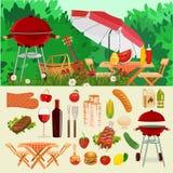Zomer, de lentebarbecue en de geplaatste picknickpictogrammen Stock Foto